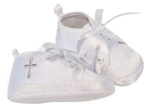 Baby Boys Girls White Christening Shoes Baptism Cross Pram 0 3 6 9 12 Months NEW