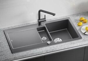 Details zu Blanco Keramik Spülbecken Idento 6S schwarz PuraPlus mit Excenter