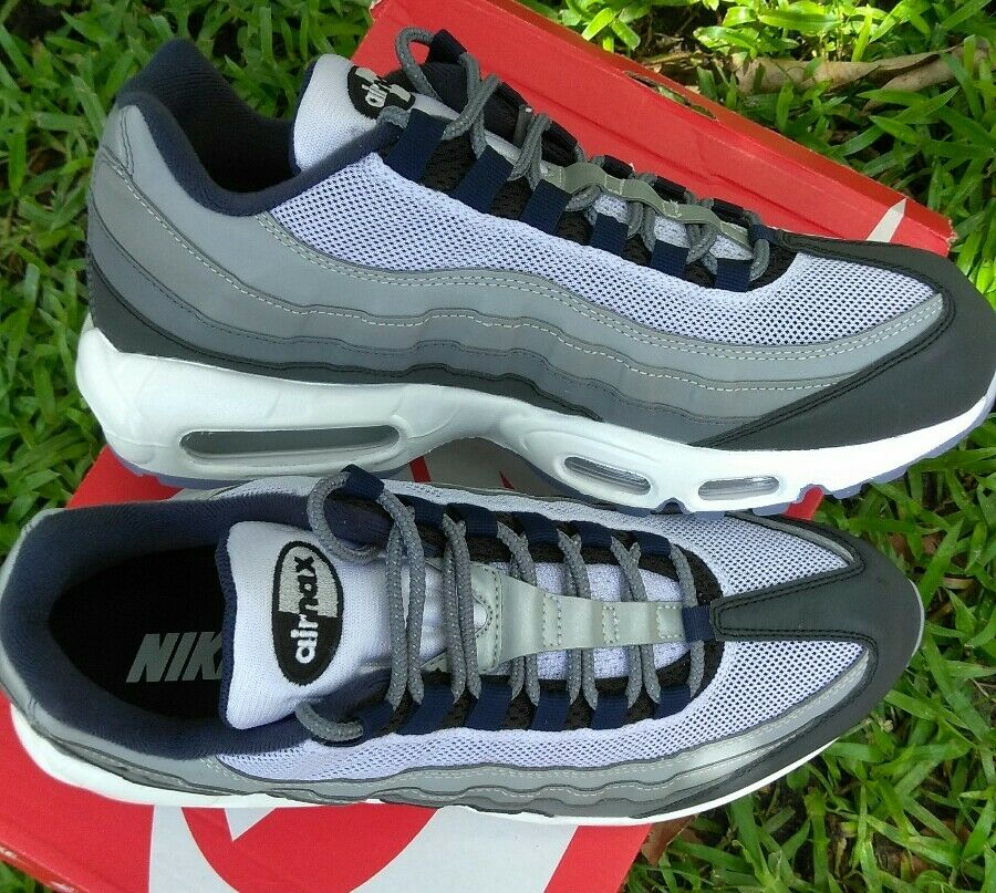 9.5 MEN'S Nike Air Max 95 Essential GREY NAVY WHITE MULTICOLOR RUNNING CASUAL 90