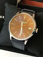 COACH Men's Metropolitan Silver Tone Navy Leather Strap Watch 42mm 14602094 NWT