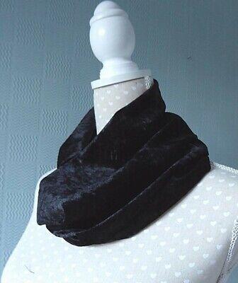 Blue crushed velvet snood blue velour loop scarf blue velour cowl scarf