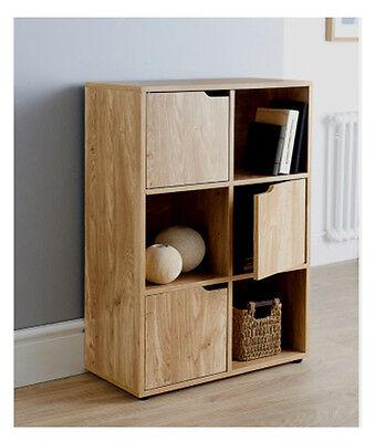 6 Cube Oak Turin Wood Finish Shelf Shelving Books Toys Living Room Storage Unit Ebay
