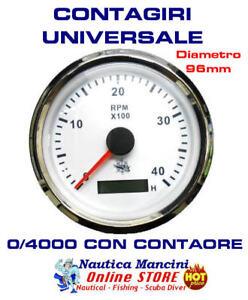 CONTAGIRI ELETTRONICO UNIVERSALE 12/24 V CON CONTAORE MOTORI DIESEL 0-4000 rpm