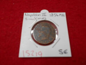 5 Cent Napoleon Iii 1854 Ma Alte Französische Münze Ref15219