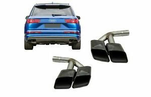 Exhaust Muffler Tips Tail Pipes for Audi Q7 4M 15-19 SQ7 Look Black Only Petrol