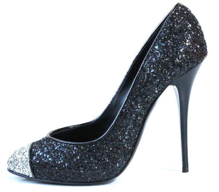 Nouveau Giuseppe Zanotti noir argent toutes Paillettes Talons Hauts Escarpins Chaussures 36.5 6.5 - Sexy
