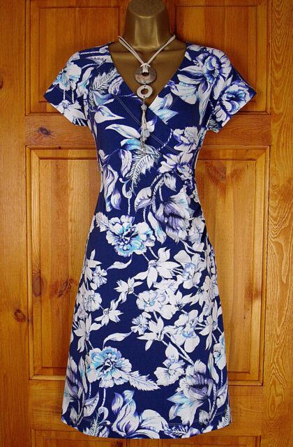 NEW EXCHAINSTORE LADIES BLUE WHITE PURPLE FLORAL VINTAGE 50s STYLE SUMMER DRESS