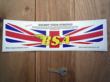 BSA Union Jack HELMET VISOR SUNSTRIP Sticker Race Bike Motorcycle Decal Strip