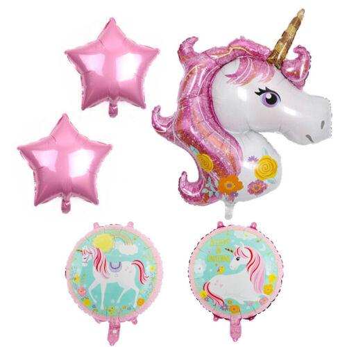 5 Pcs//Set Unicorn Theme Bouquet Foil Helium Balloons For Girls Birthday Novelty