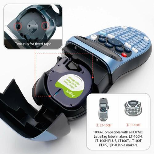 91220 91221 kompatibel Dymo Beschriftsband LetraTag LT weiß Papier Plastik 12mm