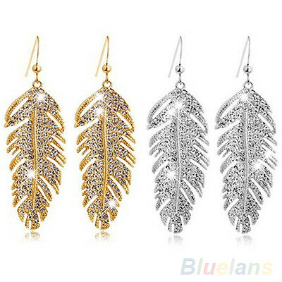 New Women Lady Retro Boho Metal Feather Rhinestone Eardrops Hook Dangle Earrings