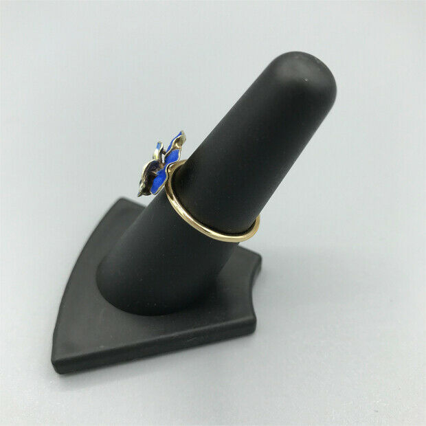 Victorian Blue enamel pansy with pearl ring pin c… - image 3