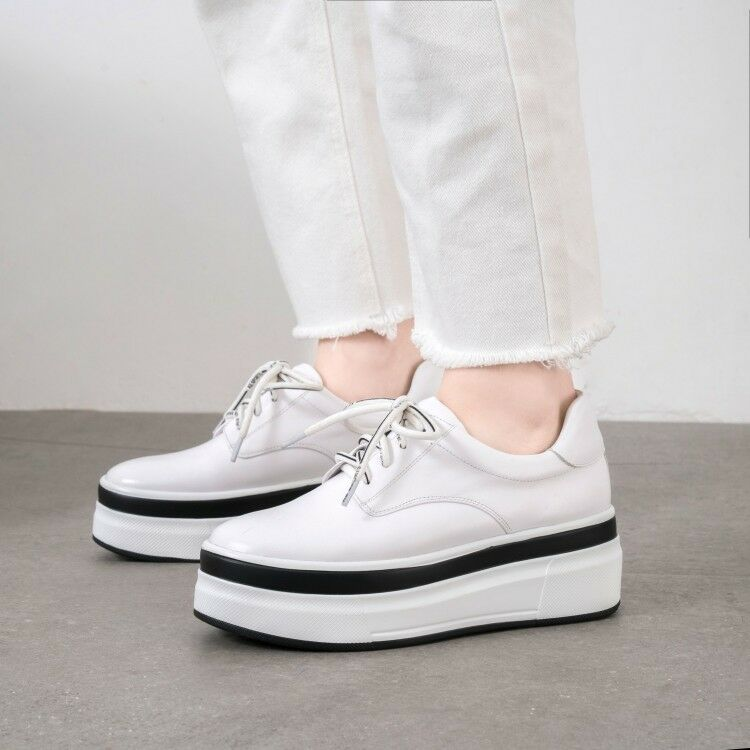Casual femmes Round Toe Lace up Creeper Athletic Causal Leather baskets Taille