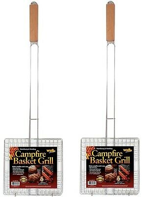 Campfire Basket Grill Extra Long Handle 2 Pack