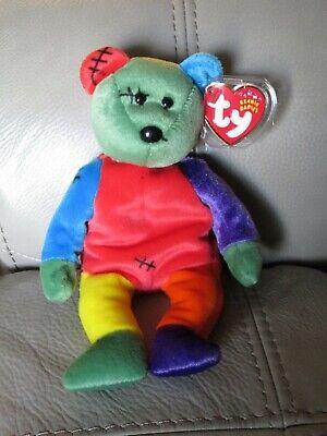 Ty Beanie Bear Frankenteddy Multicolored Bear-MWMT has tag errors