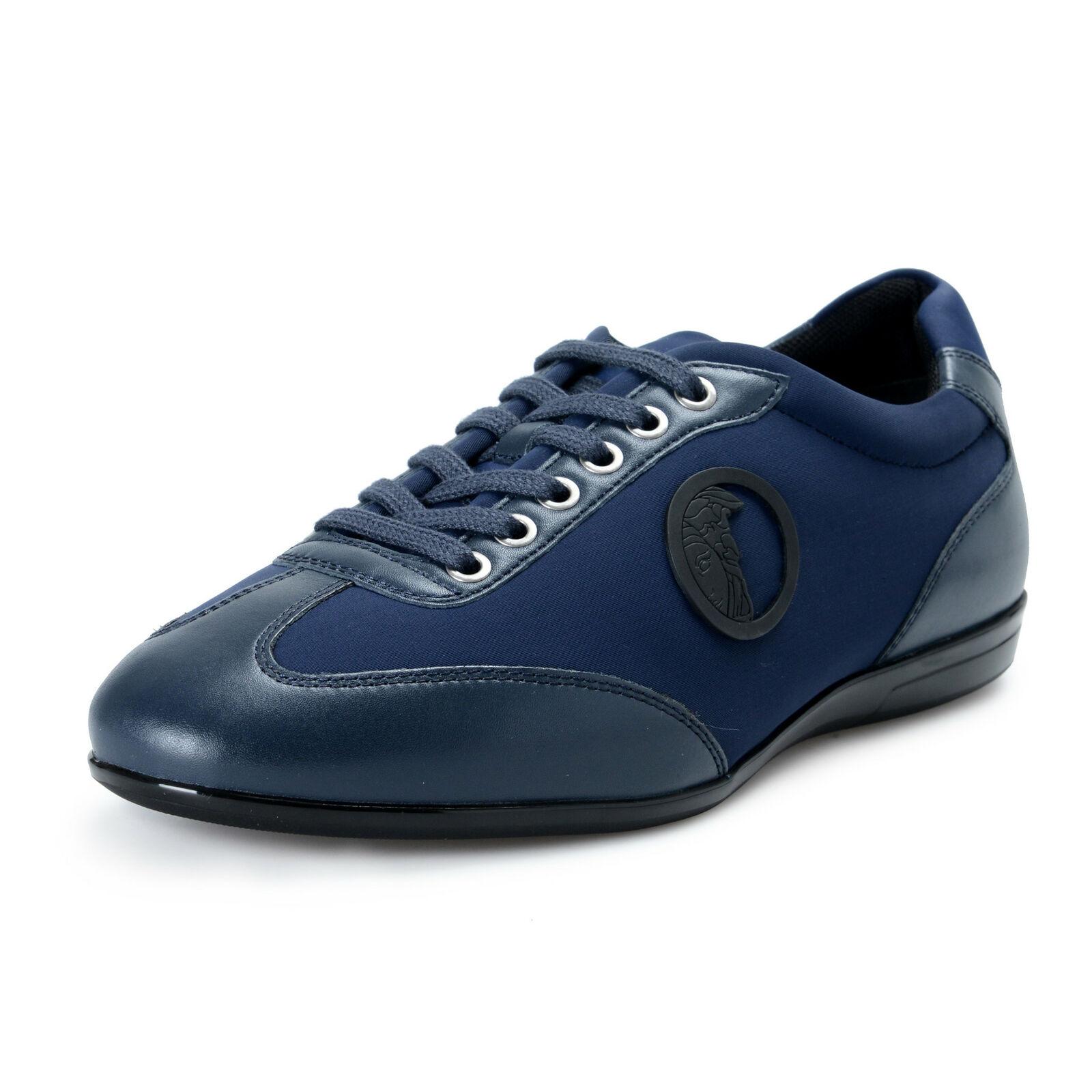 Versace Collection Uomo Blu in pelle e Tela scarpe da ginnastica Alla Moda Scarpe Misura 7 9
