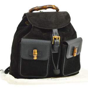 Auth-GUCCI-Bamboo-Backpack-Hand-Bag-Black-Suede-Leather-Italy-Vintage-S07988k