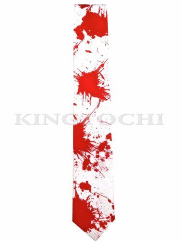 NEW RED BLOOD NECKTIE HALLOWEEN PARTY WHITE TIE