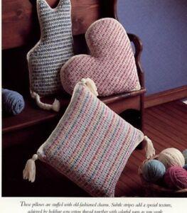 Folk Art Pillows Cat Heart Square Vanna Crochet PATTERN/INSTRU<wbr/>CTIONS