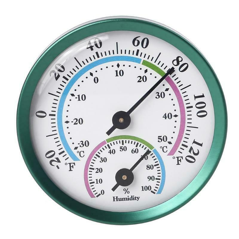No Battery Needed Thermometer Hygrometer Analog 2 Inch Green Humidity Monitor