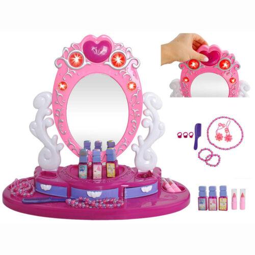 Kinder Schminktisch mit beleuchtetem Spiegel und Zubehör Frisiertisch Spielzeug