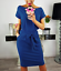 Women-Solid-Pockets-Slim-Pencil-Dress-Bodycon-Casual-Short-Sleeve-Party-Cocktail thumbnail 6