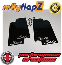 Rally mudflaps Citroen Saxo (1996-2003) Barro Solapas X 4 Negro 3 Mm De Pvc con el logotipo de Plata