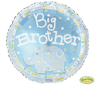 "BIG BROTHER Blue Elephant 18"" Mylar Boy/Girl Baby Shower Welcome Party Balloon"