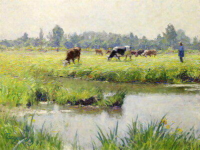 Fine Oil painting Rancher with his cows cattle In the swamp landscape