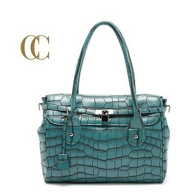 New Aubergine Mock croc EMBOSSED Pirnt tote bag Shoulder Handbag