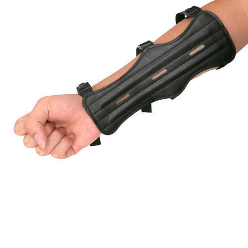Leather Strap Shooting Archery Arm Guard Safe Protector Strap Cowhide Armband UK