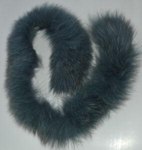 Dyed-Grey-Blue-Real-Silver-Fox-Fur-Collar-for-craft-hood-coat-headband-etc
