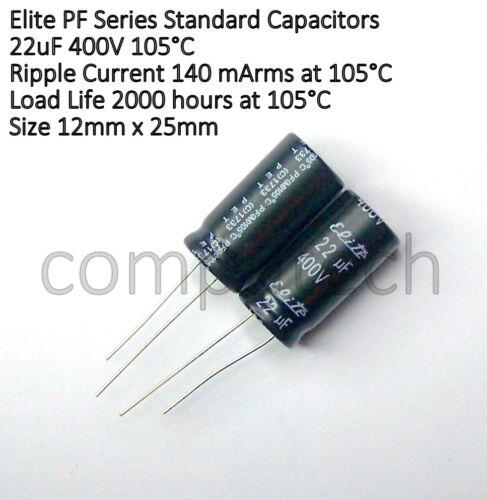 1 pezzo CONDENSATORE 22uF 400V 105°C Elite PF 12,5mm x 25mm
