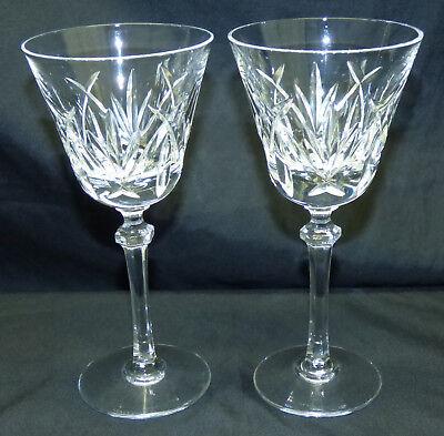 "Vtg 1980s Pair Lenox Charlotte Cut Crystal Glass 7 1//4/"" Wine Stems USA Set of 2"