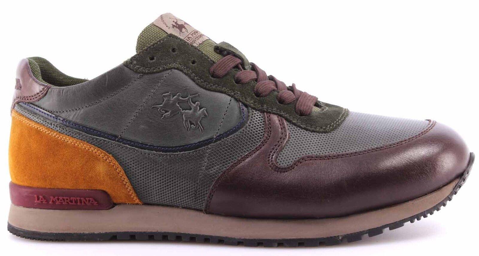 shoes Sneakers men LA MARTINA L2081212 Calf Delave TMgold Calf Delave Green ITA