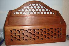 Large Handmade Carved Indian  Wooden Letterack~Desk Tidy~uk seller~