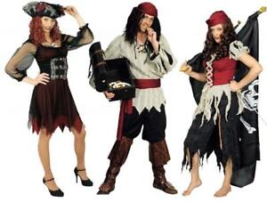 Perücke /& Hut Damen Herren Karneval Halloween Pirat Freibeuter Piratin braun