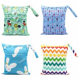 Dual Zipper Baby Diaper Bag Nappy Bag Wet Dry Pouch Mommy Storage Washable