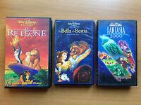lotto 3 vhs walt disney: il re leone, la bella e la bestia, fantasia 2000