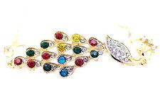 Vintage Art Deco bronze crystal peacock bracelet