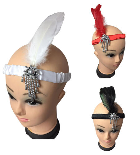 Ladies Women Flapper Head Band Feather 1920s 1930s Party Fancy Dress Accessories
