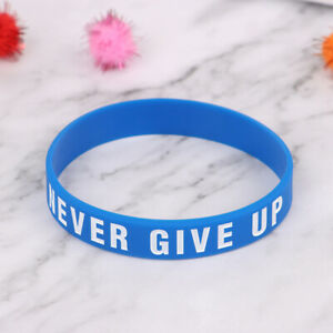 Never Give Up Silicone Bracelet Inspirational Sports Hand With Soft Eco Brace LO