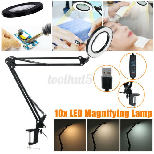 10X Magnifying Glass Desk Lamp Loupe Magnifier LED Light Foldable Reading Lamp