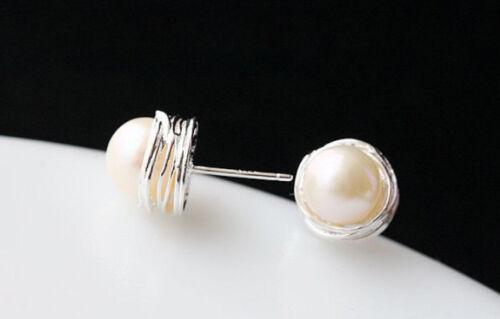 B06 arete conector espiral mantiene verdadera agua dulce perla Sterling plata 925