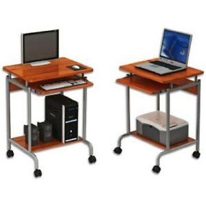 Scrivania tavolino porta pc computer compatto su ruote con - Porta tv con rotelle ...