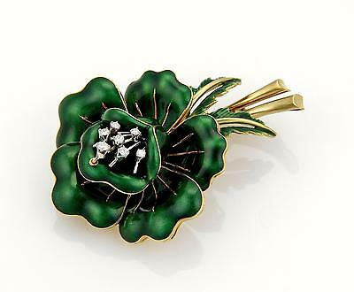 Corletto Diamonds & Green Enamel 18k Yellow Gold Flower Brooch Pin