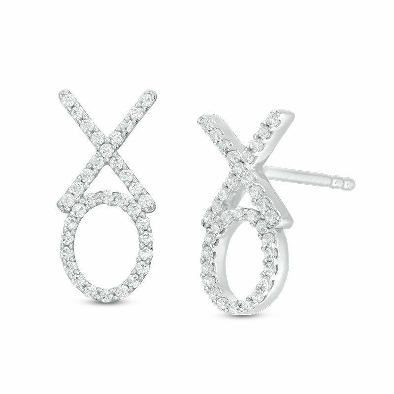 1 5 CT. T.W. Diamond  XO  Drop Earrings in 10K White gold Over