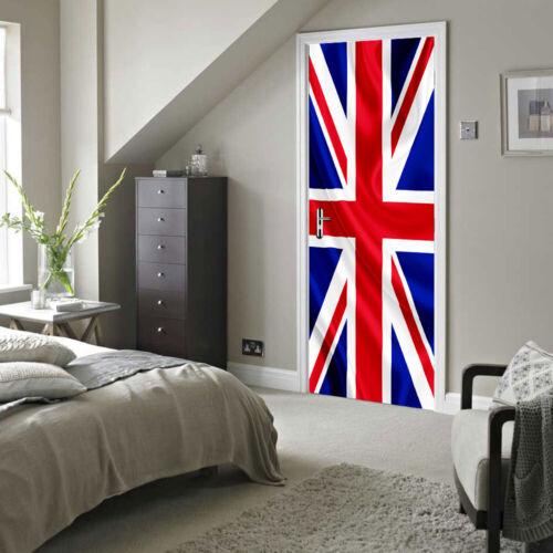 Union Jack Porte Mural Auto-adhésif stickers norme européenne Taille 88cmx200cm