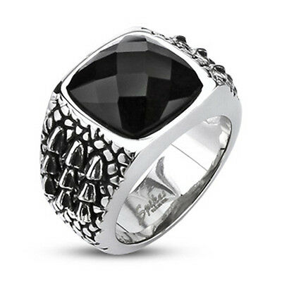 316L Stainless Steel Large Black Faceted CZ with Alligator Scales Ring Size 9-13