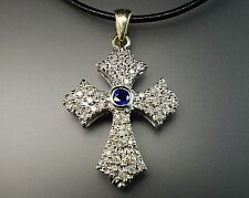 Diamond Blue Sapphire 18K White Gold HUGE 12.8g Heavy Antique Cross Pendant